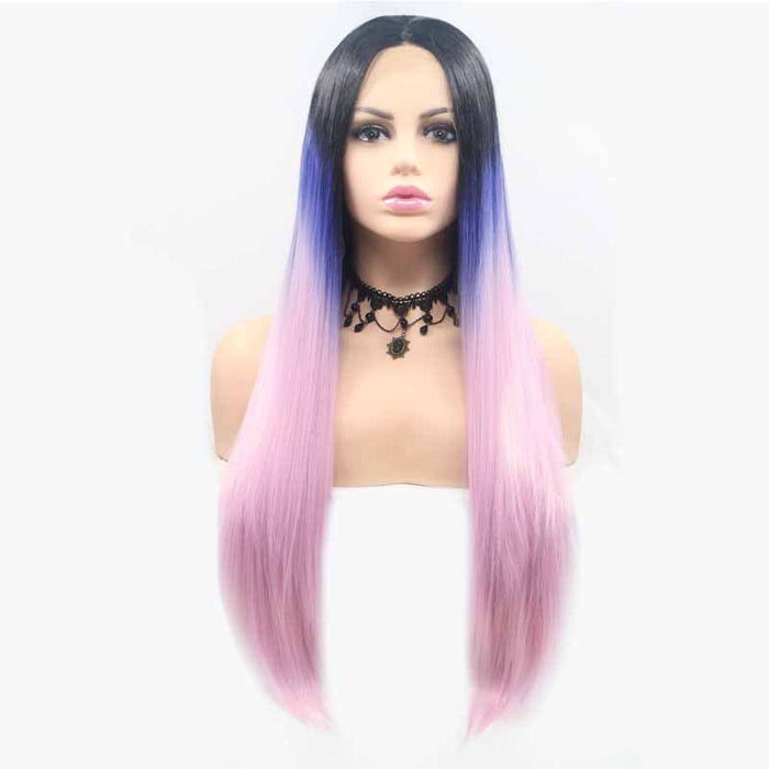 synthetic lace front wig straight pink multi