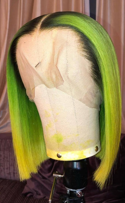 black and green ombre wig