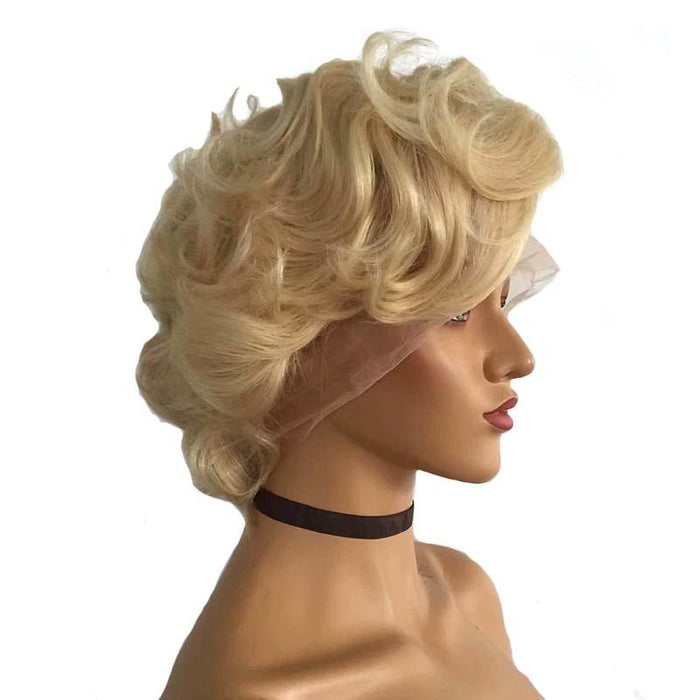 Blonde Pixie Cut Wig Wave for African American women