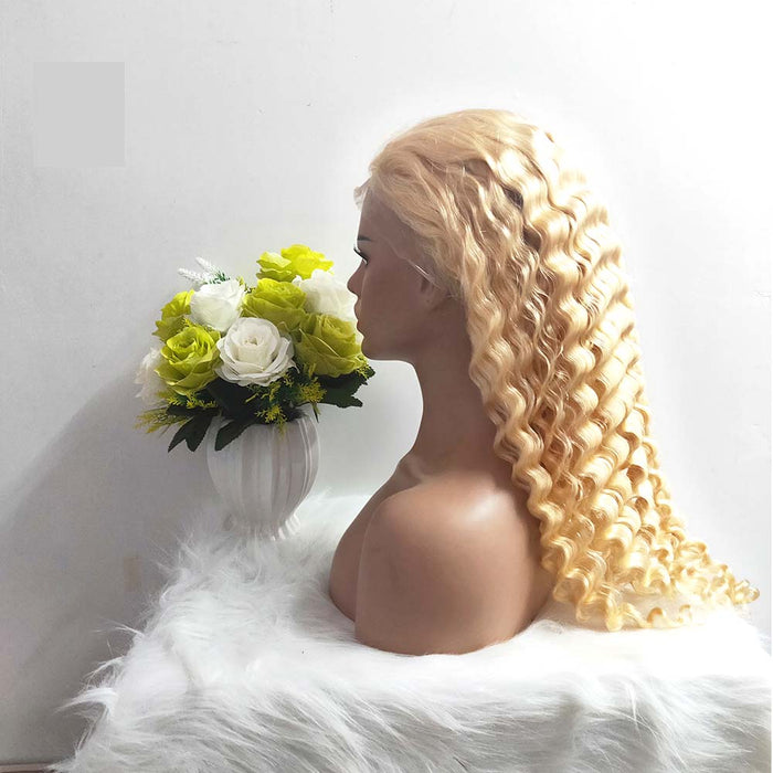 blonde full lace wig deep wave human hair