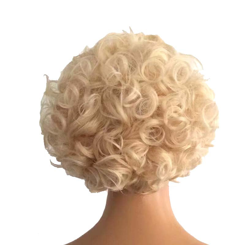 613 blonde curly brazilian hair pixie cut wig