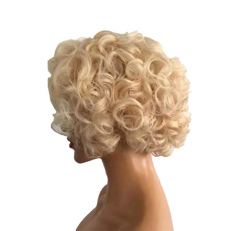 613 blonde curly pixie cut wig human hair