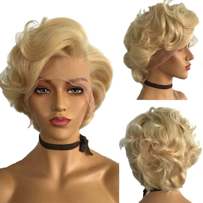 613 Blonde Pixie Cut Wig Wave