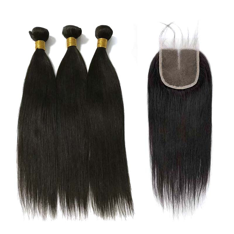 Brazilian Straight Hair 3pc with Lace Closure Middle Part