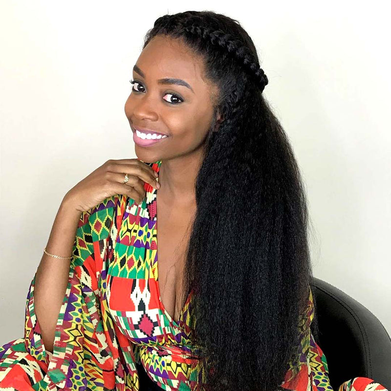 kinky straight hair with lace closure