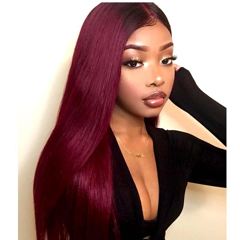 #1B99J Ombre Red Straight Brazilian Human Hair Bundles 3pc Surprisehair