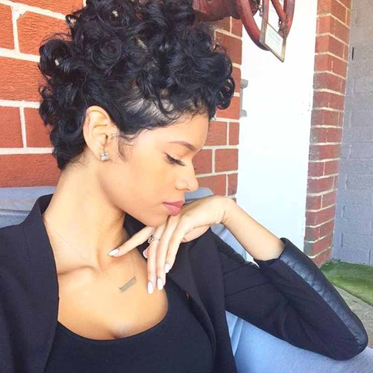 Black curly pixie cut lace wig human hair