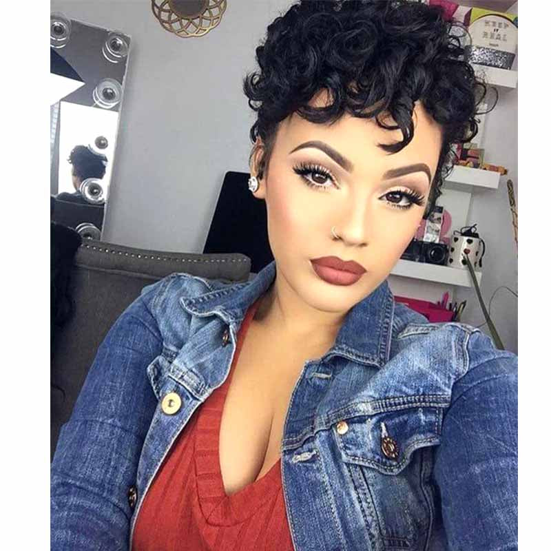 Best pixie cut curly full lace wig human hair
