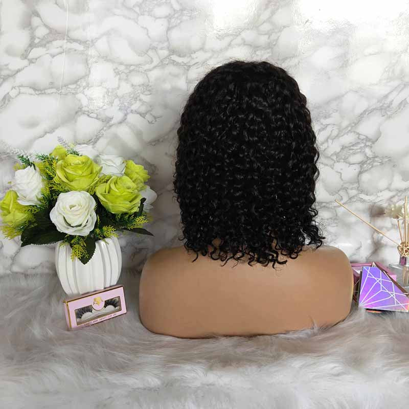 Brazilian human hair curly bob lace frontal wig for African American