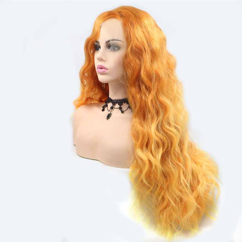 Bright Orange Synthetic Lace Wig wavy