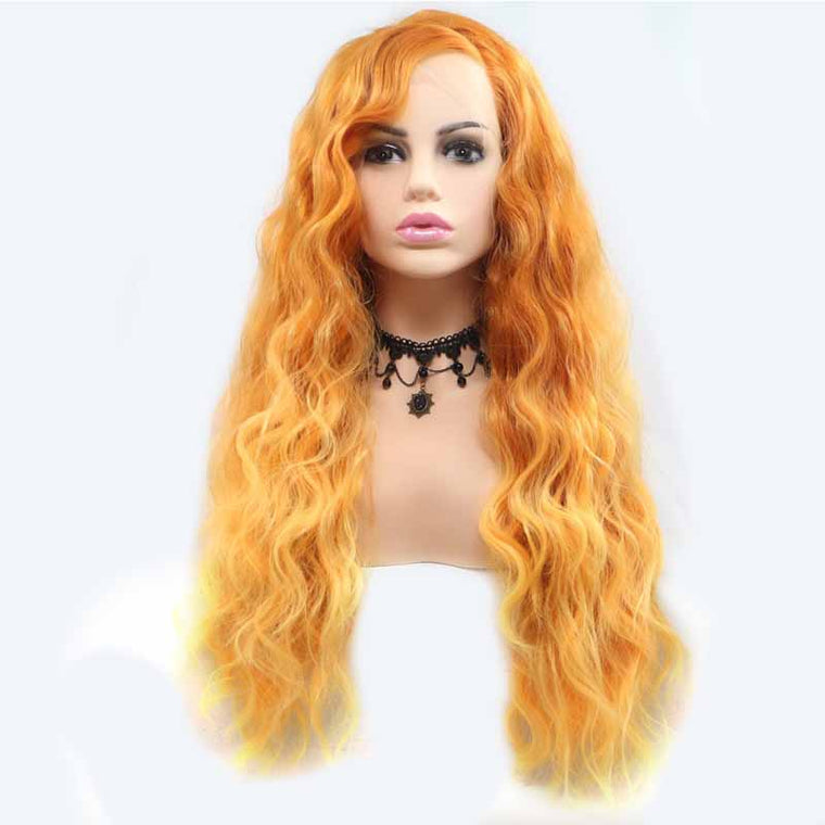 Surprisehair Bright Orange Synthetic Lace Wig Long Wavy 24inch Online Sale