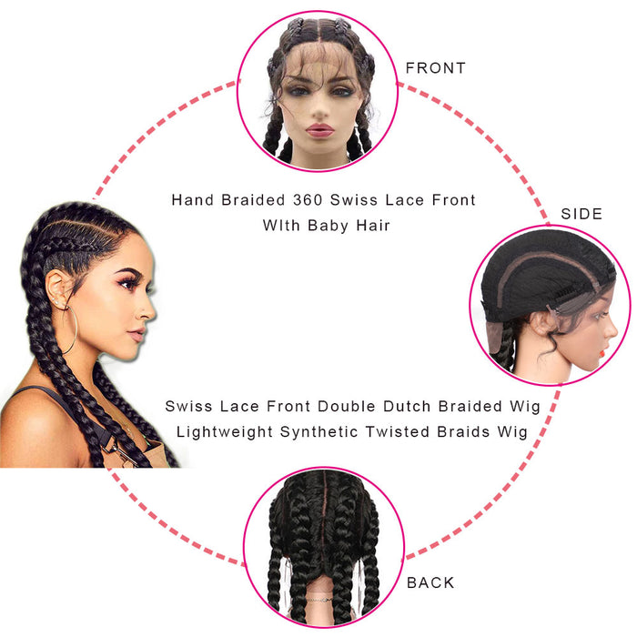 Double Dutch Braided Wigs with Baby Hair for Women surprisehair