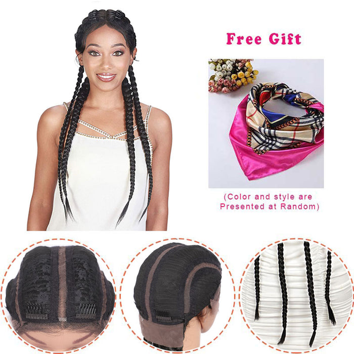 Hand Braided 360 Swiss Lace Front Double Dutch Braided Wigs surprisehair