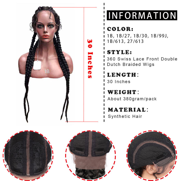 30 Inches Extra Long Hand Braided 360 Swiss Lace Front Double Dutch Braided Wigs surprisehair