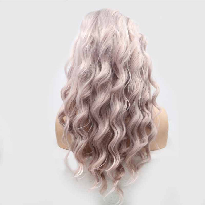 loose wave Light PInk Synthetic Lace Wig