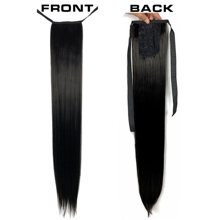 30 Inch Ponytail Straight Hair Synthetic Long Ponytail Hairpiece For Black Women Surprisehair
