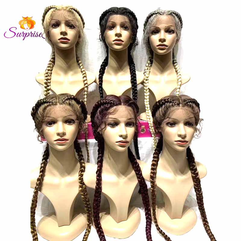 Long cornro braided lace front wigs for sale