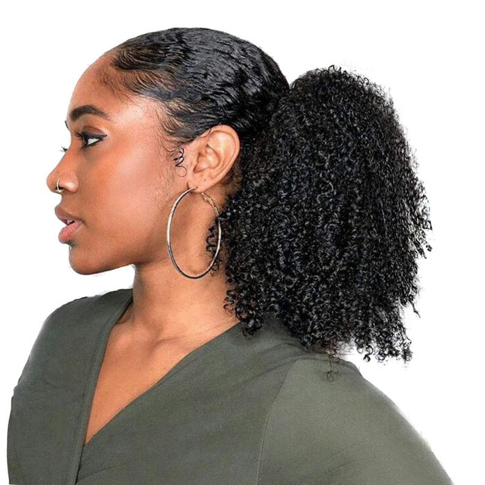 Natural Brazilian Hair Afro Kinky Curly Ponytail for Black Women