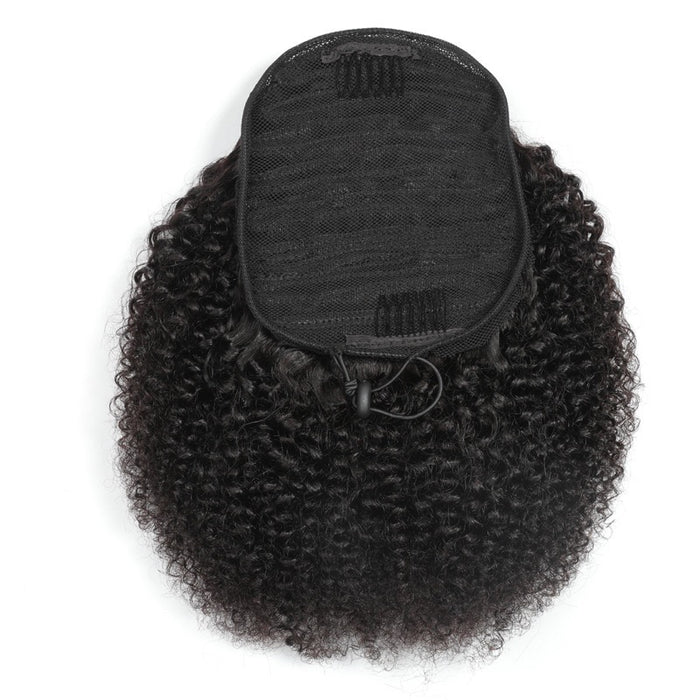Natural Brazilian human Hair Kinky Curly Ponytail for Black Women