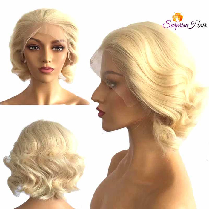 Short blonde pixie cut human hair wig for black women