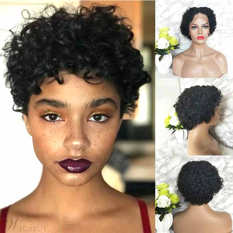 Short curly pixie cut lace wig human hair