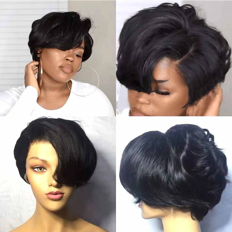 Short lace frontal pixie cut wig human hair
