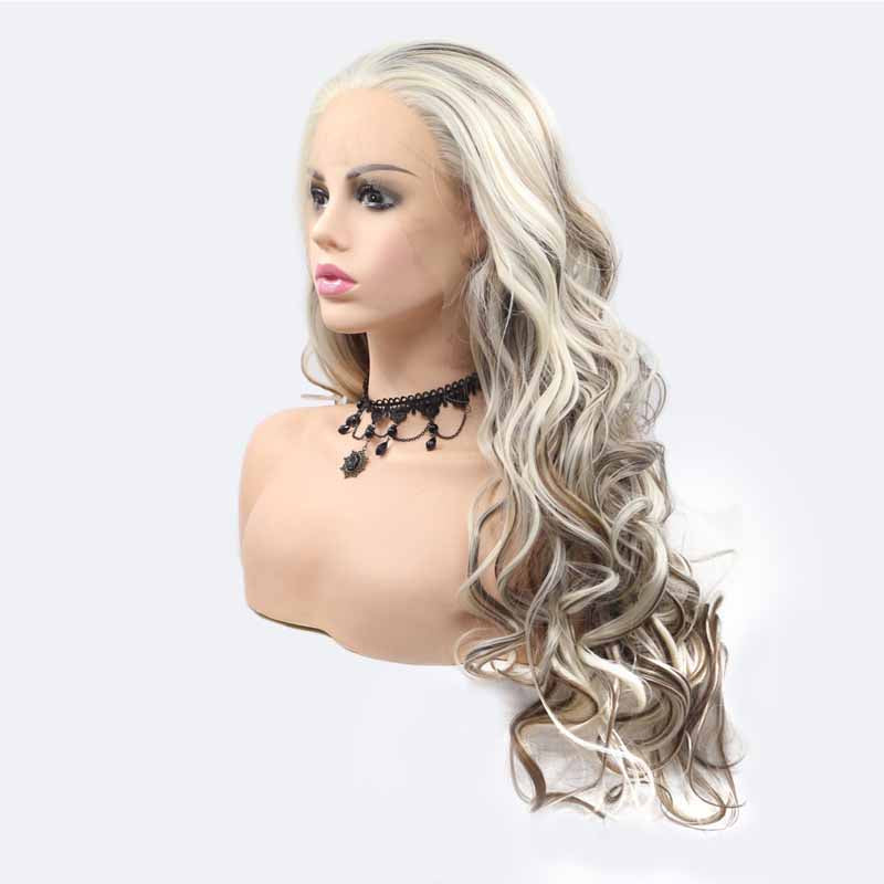 long wavy lace front wigs synthetic hair