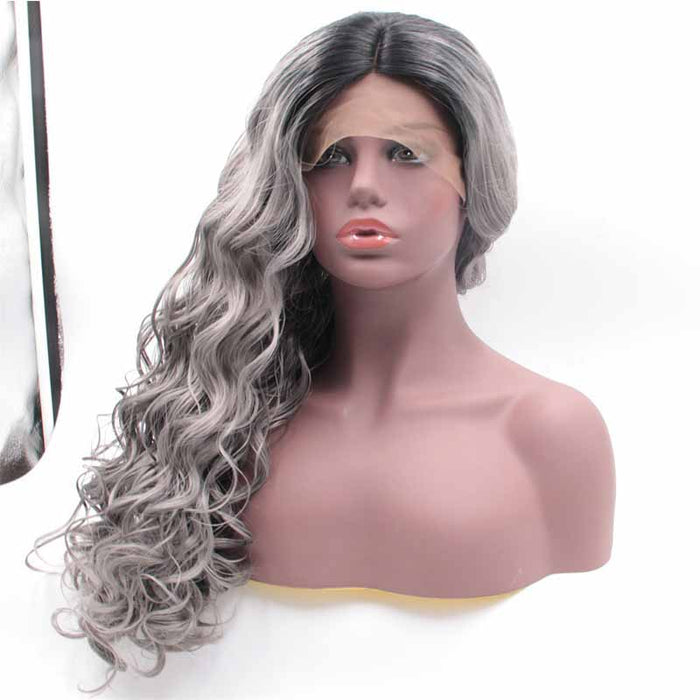 body wave  Synthetic Lace Front Wig Grey