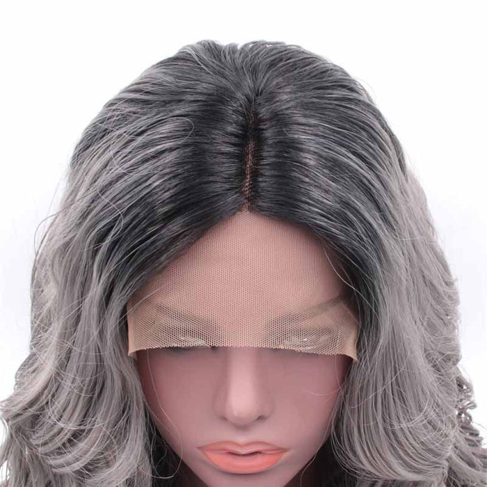 Synthetic Lace Front Wig Grey Ombre wavy