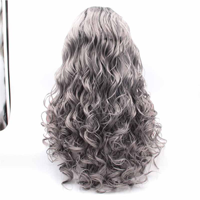 long Synthetic Lace Front Wig Grey