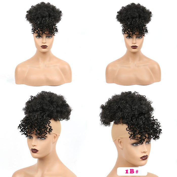 High Puff Natural Afro Puff With Bangs Synthetic Short Curly Drawstring Ponytail Heat Resistant Hairpiece Clip In Hair Puffs For Black Women