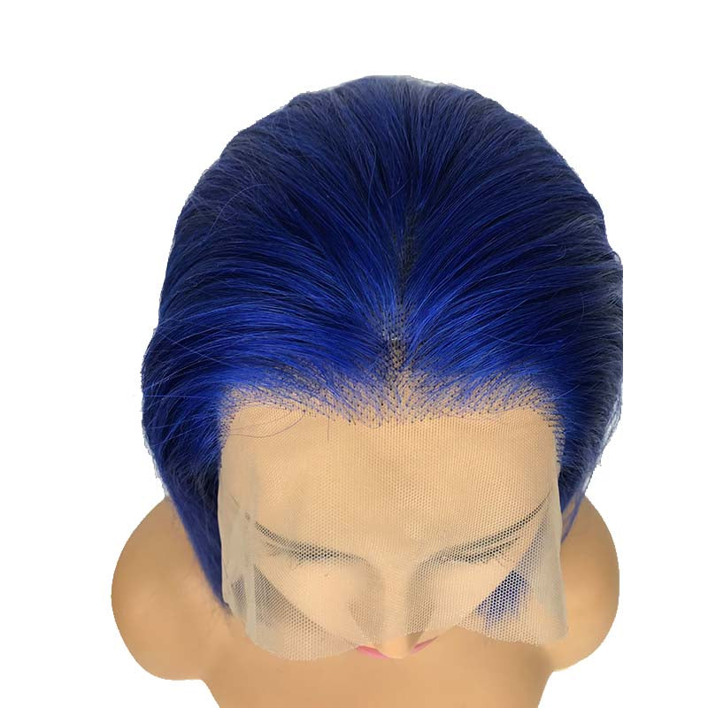 black and blue bob wig