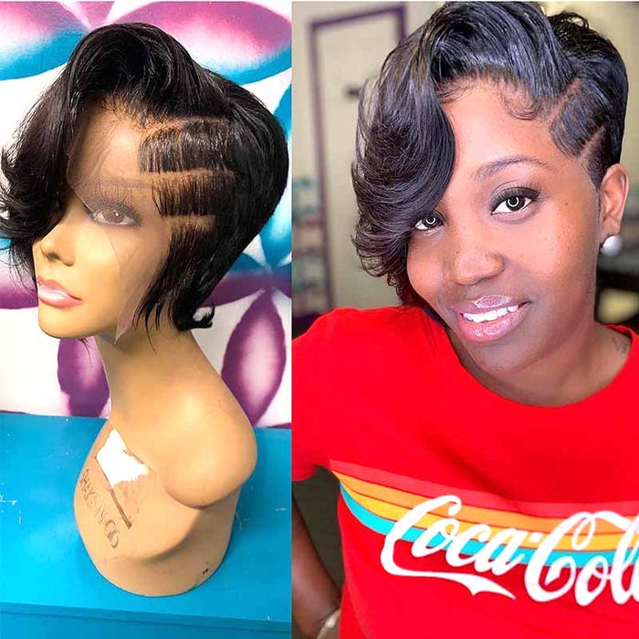best human hair pixie cut lace frontal wig for African American