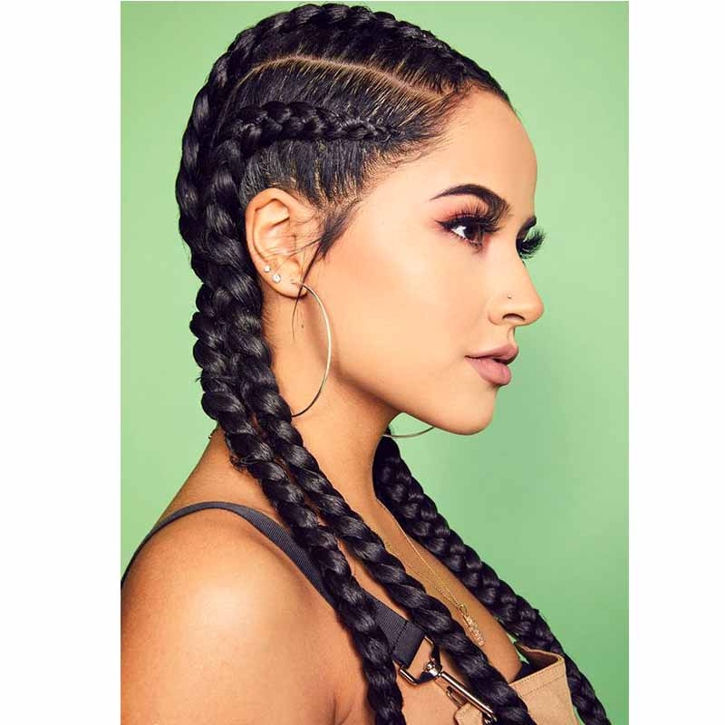 Synthetic Black Long Braided Lace Front Wigs For African American Surprisehair