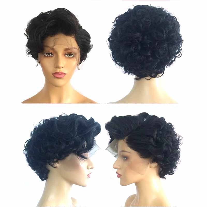 black curly pixie cut lace wig human hair for black women