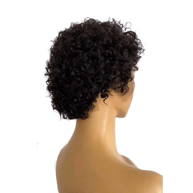black curly pixie cut wig brazilian hair
