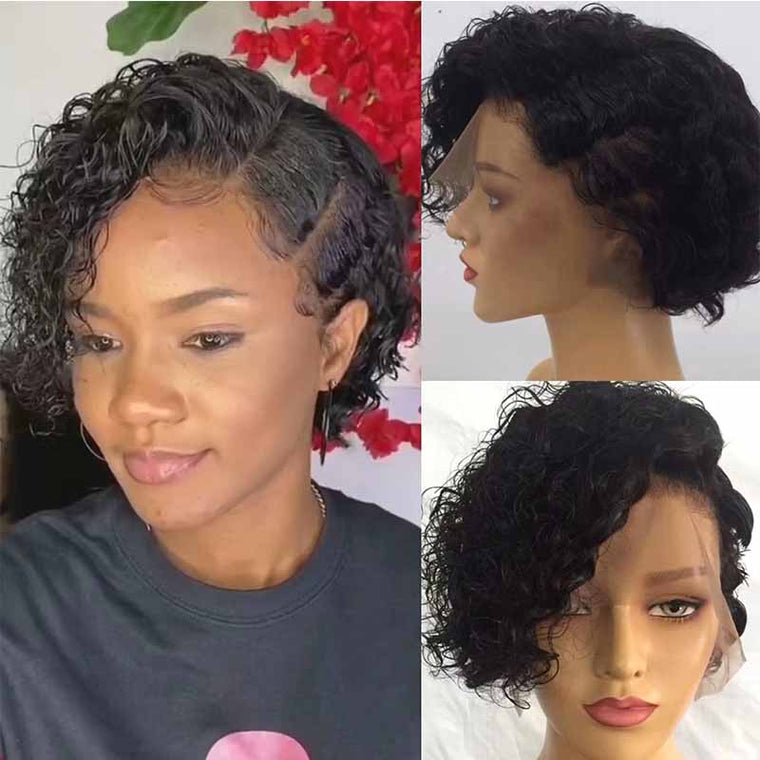 Short curly pixie cut wig human hair for African American Surprisehair