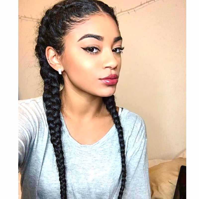 13x4 Black Middle Part Long Double Braids Lace Front Wig with Baby Hair
