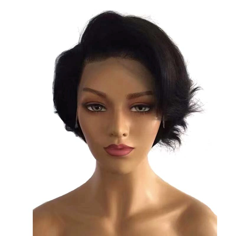 black short pixie cut wig wave lace frontal