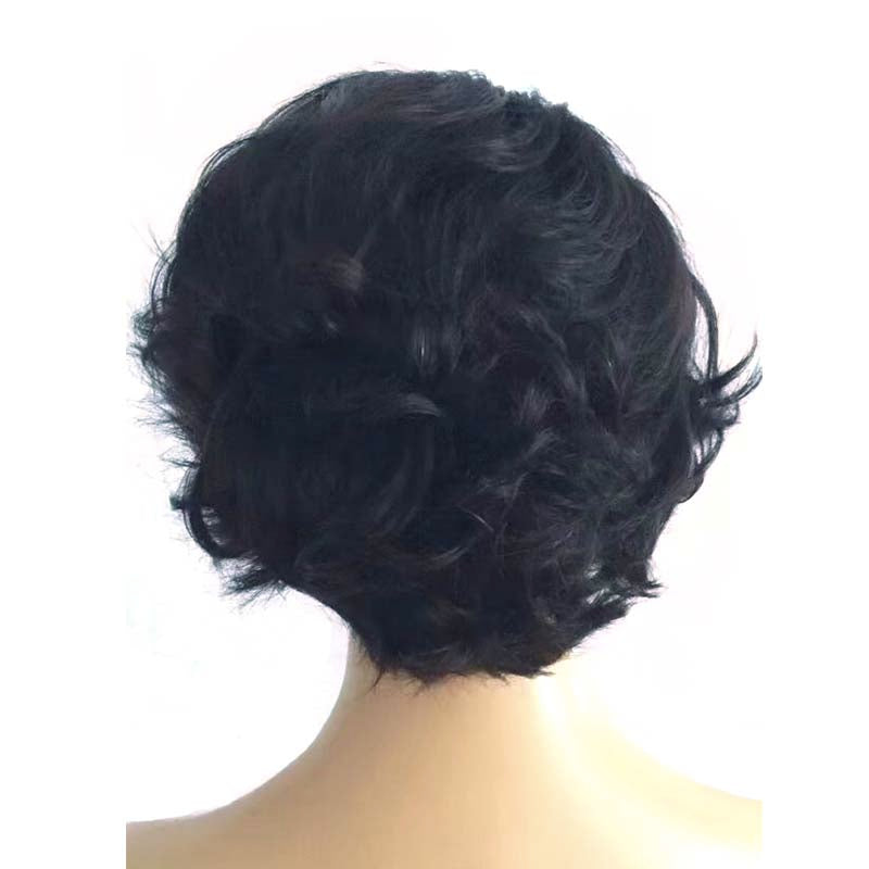 black short wave pixie cut wig human hair