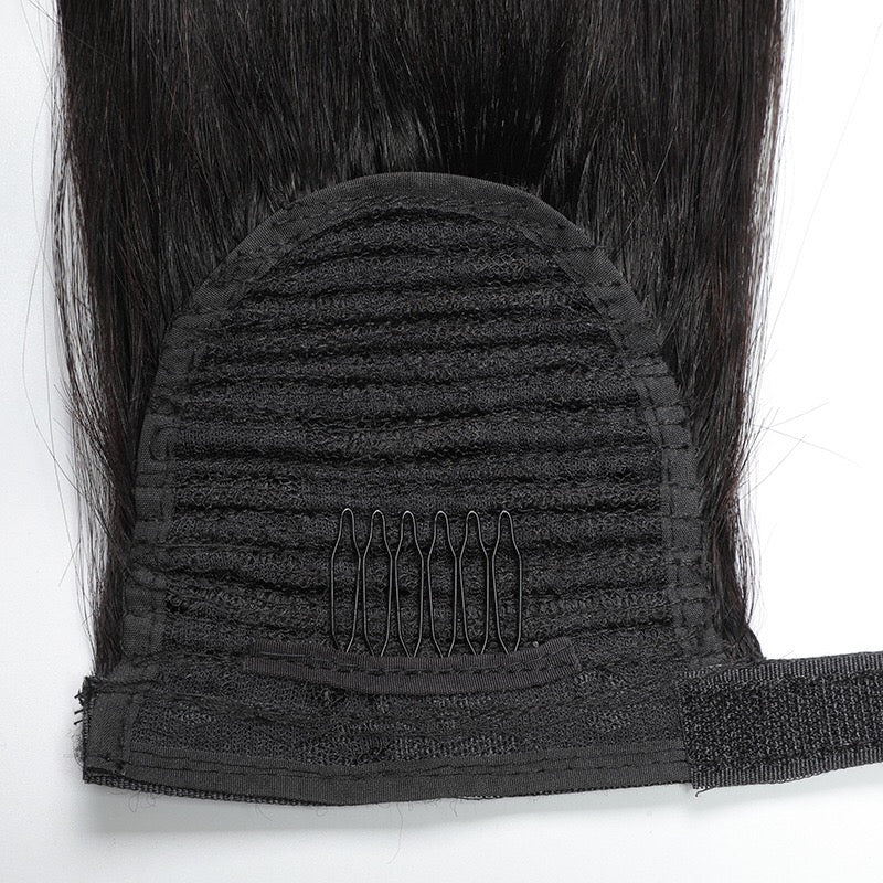 black straight human hair ponytail