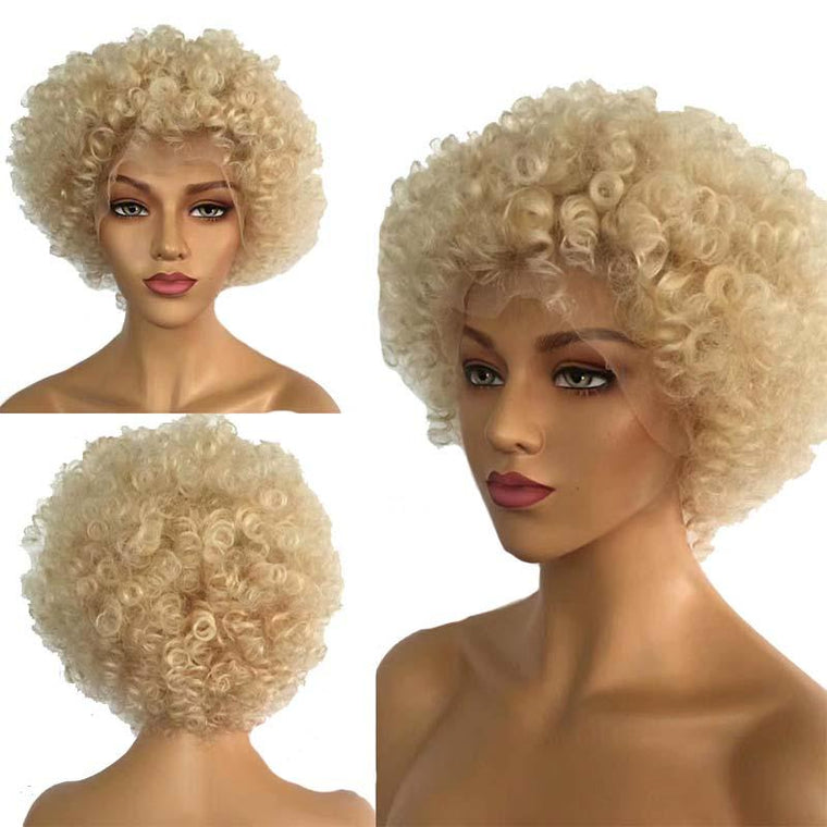 613 Color Blonde Afro Wig Lace Front Brazilian Human Hair Surprisehair
