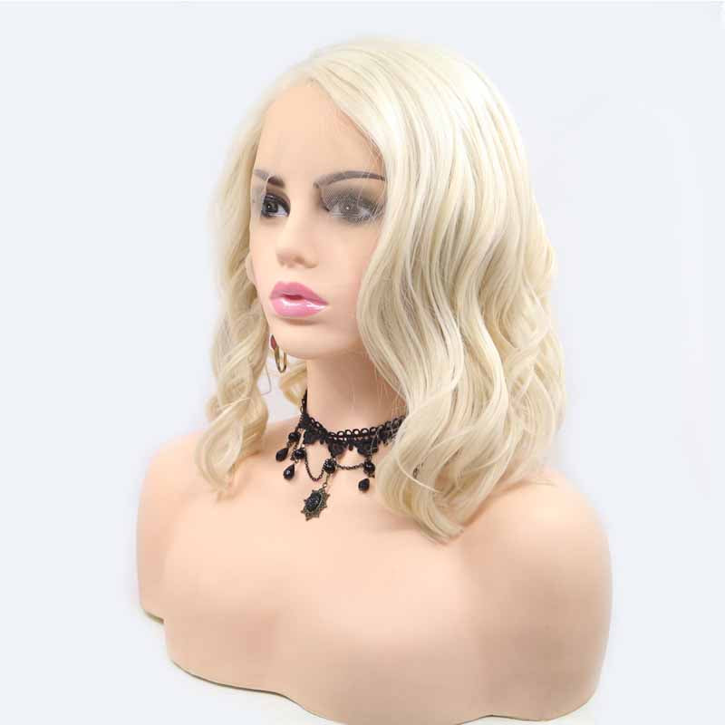 surprisehair-Surprisehair Blonde Short Wig Waves Synthetic Lace Wig  Quality Lace Wig Online