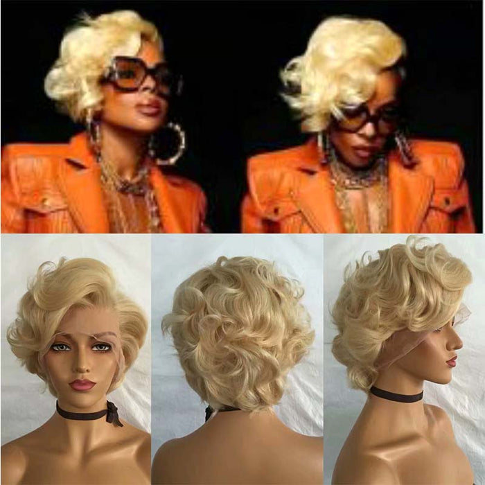 blonde curly pixie cut wig human hair