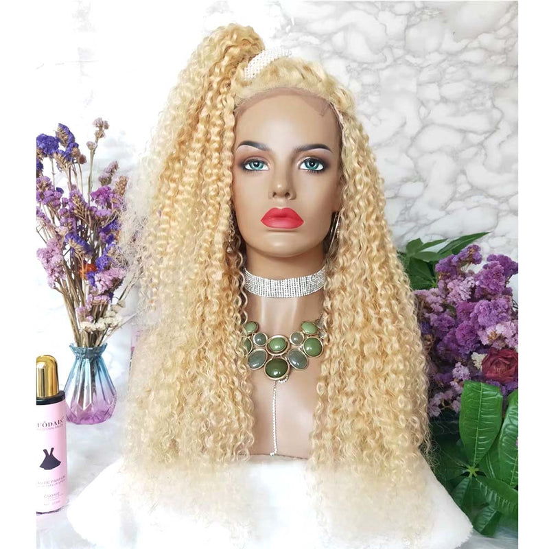 blonde deep wave lace closure wig