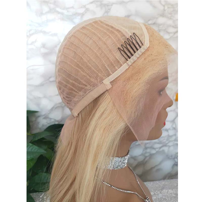 blonde human hair lace wig straight