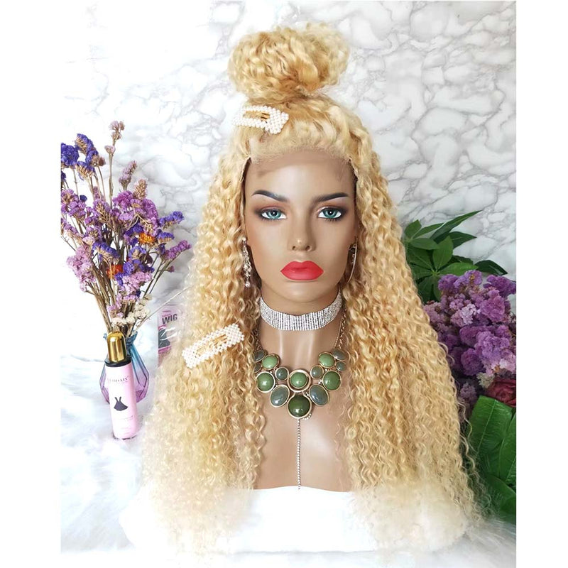 blonde lace closure wig deep wave