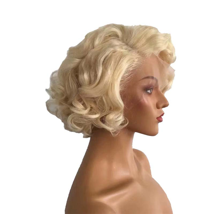 blonde pixie cut curly wig Brazilian hair