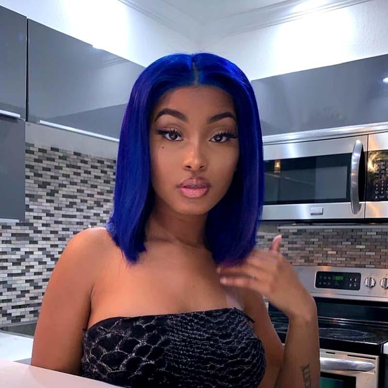 blue lace wig bob for American African women