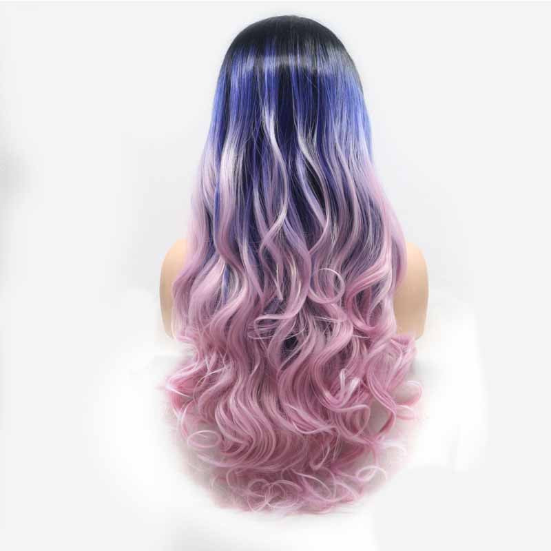 surprisehair-Surprisehair Cheap 3 Tone Synthetic Lace Front Wig Purple Multi body wave for Sale